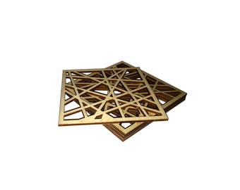 kitchen and dining wood coaster laser cut plywood coasters organic shape curved shape curve lines.