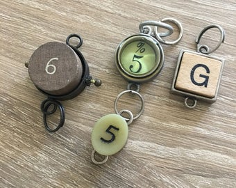 Various Charms / 5% Charm / Scrabble Charms / #6 Charms / Necklace Charms / Beads and Charms
