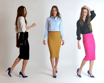 NEW!!! Spring 2017 Pencil Skirt/ Ribbed Pencil Skirt / Business Skirt / Women's fashion / Pink / Black / Mustard / Skirt