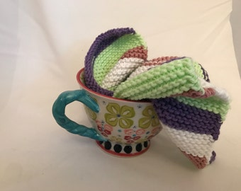 Purple/Green/White/Salmon cotton washcloth