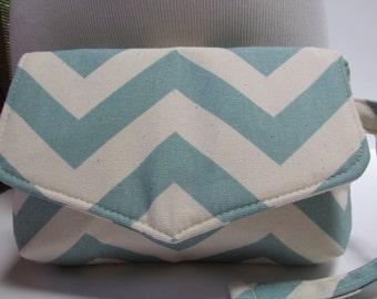 Small Pastel Blue Chevron Clutch, Wristlet, Makeup Bag, Purse (ver1)