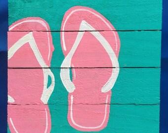 Flip Flop wall art, Marine pallet art, Coastal Decor, Beach wood art, Summer art