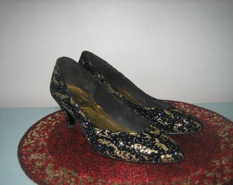 Vintage Shoes Black And Gold Glittery Renato High Heels 8.5 M