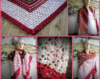 Pink colorful shawl crochet