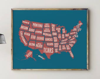 Map of USA, Play Room Decor, Play Room Wall Art, Play Room Sign, Kids Room Decor, Kids Room Art, US Map, USA Map, United States Map, Wall