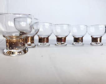 Set of 6 Vintage Copper Trim Low Ball  Glass Set /Vintage Barware /Boho Bohemian Glassware /Rustic Copper Barware /Copper Juice Glass