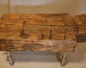 Beech dovetail cut log bench