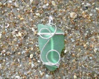 Natural Sea Glass Pendant wire wrap silver beach glass pendant green glass pendant large #1006