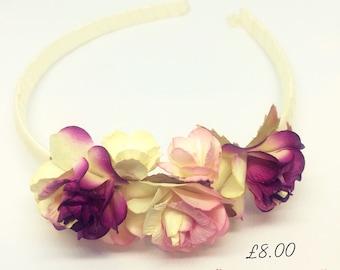 Beautiful children's pink & deep purple floral headband