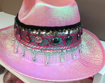 Pink cowgirl festival hat