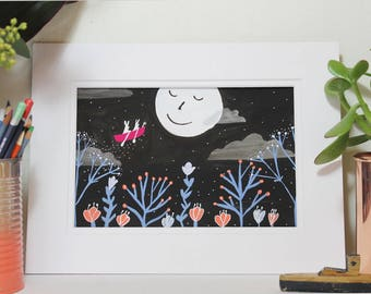 Sailing Moon Rabbits Gouache and Ink Original Illustration by Clay Horses