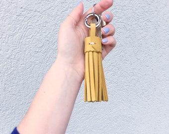 Key chain leather tassel
