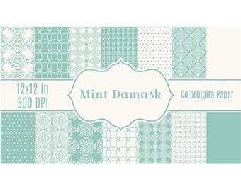 Mint Damask Wedding Paper, Digital Paper Pack, Commercial Use, Instant Download, Wedding Invite paper, Digital Scrapbooking, Elegant Vintage