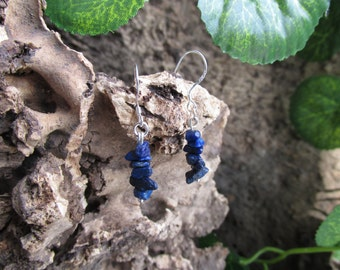 Silver earrings with lapis lazuli stones