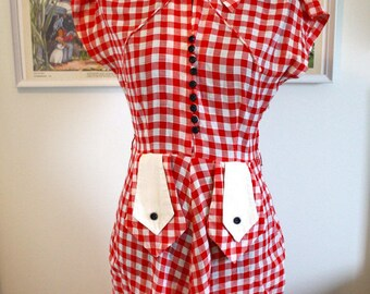 Red and white  1940s gingham dress