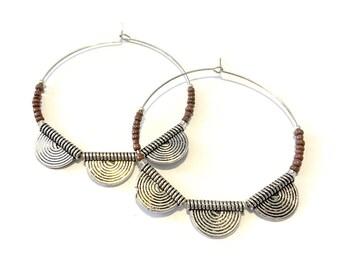 Silver half medallion purple beaded hoop earrings