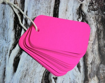 Hot Pink Tags Set of 25