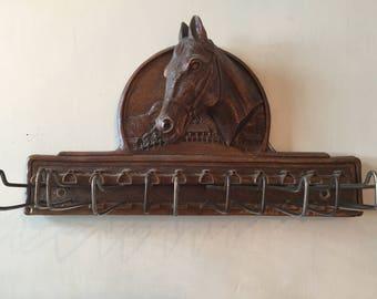 Vintage Equestrian Horse Tie Rack