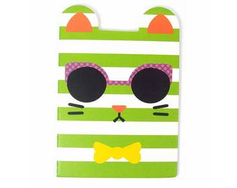 Kawaii striped cat notebook