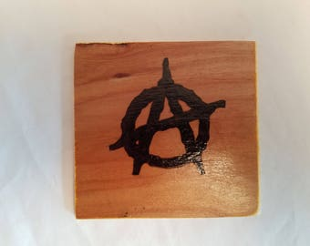 Woodburn Pyrography Wall Art Hanging Anarchy A Symbol