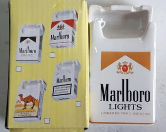 Marlboro Ceramic Ashtray Advertising Marlboro Lights Cigarettes Pack Shape Ashtray Ceramic New Boxed