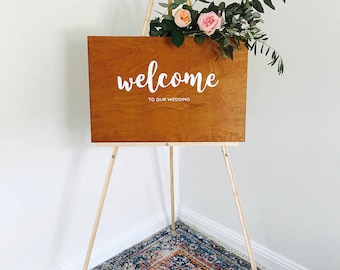 Wooden Wedding Welcome sign with names and date // bespoke signs // rustic wedding decor // wedding signs // wood signage