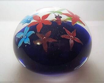 Vintage glass flower paperweight