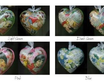 Decoupage heart hangers - light-up - vintage comics