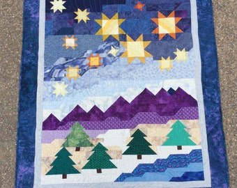Quilt: Mountains, Trees and Stars