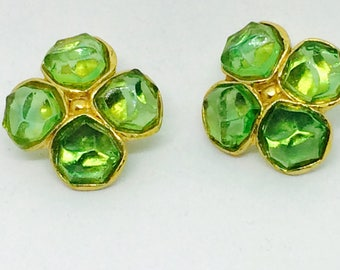 Clips with green glass vintage
