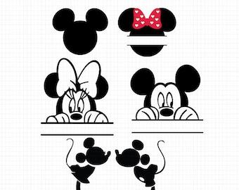 Mickey Monogram Svg, Minnie Monogram Svg, Minnie Mouse Svg, Mickey Mouse Svg, Monogram Svg, Disney Svg,Mickey Minnie Head,Silhouette files