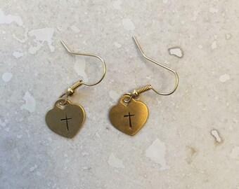 Heart and cross earrings
