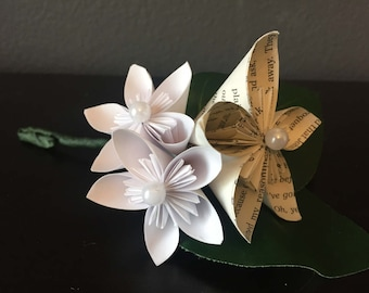 Origami Boutonniere Book Page Blooms