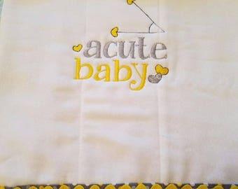 "Funny Mathematical ""Acute"" Baby Burp Cloth"