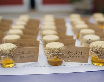 Rustic style wedding honey jar favours- 5 pieces