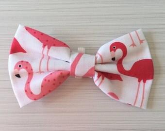 White flamingo pet bow, bow tie
