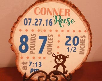 Personalized Birth Announcement on Wood Slice