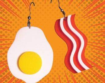 Bacon & Egg Earrings - laser cut acrylic