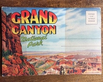 Vintage Postcard Souvenir Folder, Grand Canyon Postcards, Old Southwest Postcards, Antique Postcards, Native American Hopi, Navajo