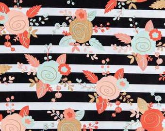 Black, White, Mint, and Blush Piper Floral Apparel fabric