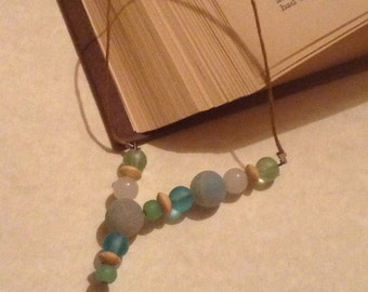 Beach glass and driftwood book thong