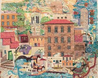 Hydra, painting, illustration, island, Greek island