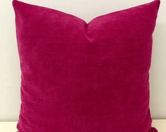 Fuchsia Boho Pillow Cover, Fuchsia Pillow, Bohemian Pillow, Decorative Chenille Throw Pillow, Boho Cushion, Fuchsia Rustic Pillow Covers