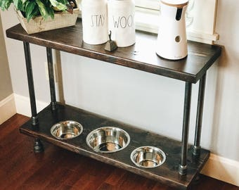 Verona Style Raised Dog Feeder Built into Industrial Style Console Table.  Perfect for smaller mid-sized to mid-sized dog.