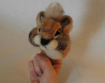 Needle felted finger puppet, soft, wool, Chipmunk