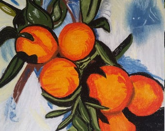 Painting of Oranges   pastel     impressionist   art    wall decor   11X13    blue green orange    signed by artist