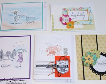 Handmade BIRTHDAY GREETING CARDS Set of 5 New - Stampin Up
