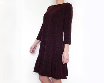 Wool jersey dress, ruffle dress, party dress, 3/4 sleeve dress, women dress, midi dress