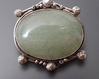 Antique 900 silver oval aventurine huge heavy solid brooch pin