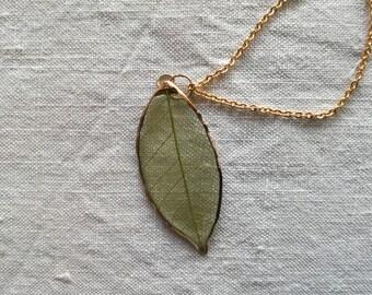 Real Leaf Pendant Green
